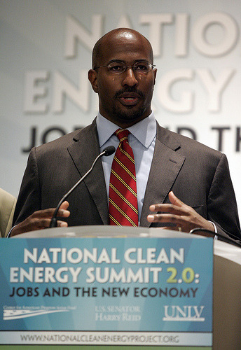 "Van Jones' New Book Shows Environmental Protection and Prosperity Go Hand-in-HandPolluting industries like to say that making the air safer to breathe and the water safer to drink is a threat to economic growth. But in his new book, Van Jones confirms once again how false the old ""jobs versus the environment"" argument is. Instead, we can create jobs FOR the environment. ""We seem to forget that everything that is good for the environment is a job,"" Jones writes in Rebuild the Dream.  Solar panels don't put themselves up. Wind turbines don't manufacture themselves. Houses don't retrofit themselves and put in their own new boilers and furnaces and better-fitting windows and doors…Every single thing that is good for the environment is actually a job, a contract, or an entrepreneurial opportunity.  Read more. Photo: Van Jones by Center for American Progress Action Fund"