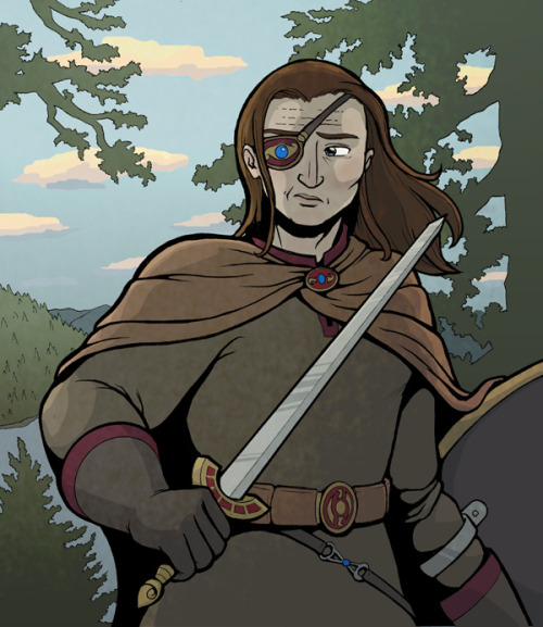 Here's some guy with an eyepatch and a sword.  And a shield.
