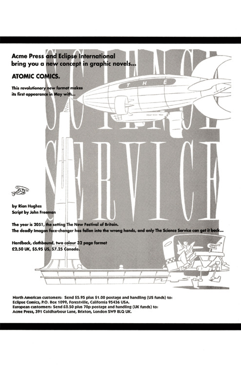 Promotional ad for The Science Service by Rian Hughes and John Freeman, 1989.