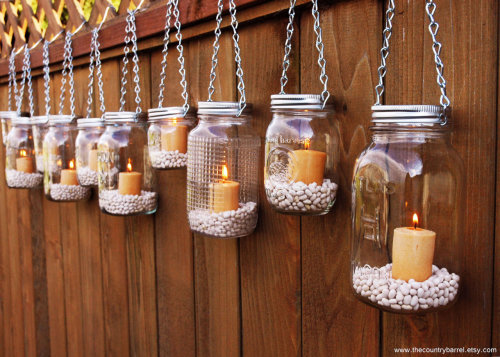 Mason Jar Lanterns Hanging Tea Light Luminaries - Set of 10 - Silver Chain