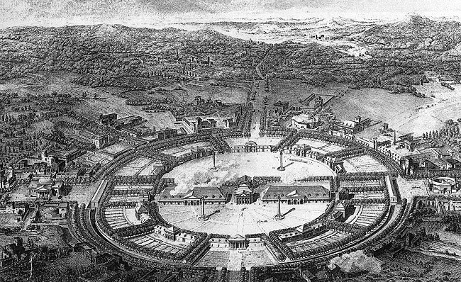 Claude-Nicolas Ledoux, Ville de Chaux (project), c. 1774-1790 A utopian city that was an 'amphitheatre of production'. The architecture consists of simple forms articulated by the basic Doric order, which emphasizes the function and audience of the project. The combination of basic forms, grand scale and axial procession creates an atmosphere which celebrates labour and industry. The concept of functionalism is inherent in the plan for the city- Ledoux highlights the importance of the saltworks in the life of Chaux by articulating it architecturally and sculpturally through apsidial voids and urns.  Inspired by the writing of Rousseau, Ledoux's vision for the society of Chaux was one based on a traditional, communal  and progressive, if odd style of living. There would be a family court, a house of sexual education which would operate as a controlled brothel to 'channel the carnal passion of young men' (the floor phallic floor plan highlights this). The design of the houses was highly individualized and was determined by the resident's profession.  This utopian world had no prison or police force because Ledoux was confident that a well organized and well thought out city would satisfy its residents and there would therefore, not be any kind of precedence for the vices of man to perpetuate in the society of Chaux. Years after its conception, Ledoux's concept for Chaux continued to inspire diverse audiences like the French and British planners of 19th century industrial cities along with Soviet welfare housing planners in Soviet Russia and their satellite states.