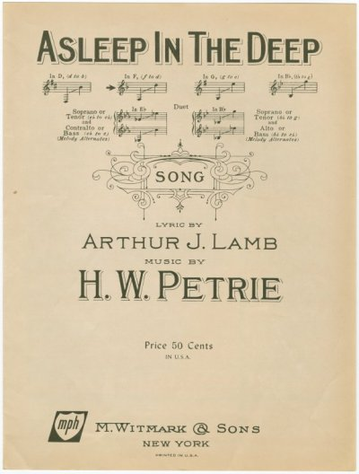 - Asleep in the Deep - Words by Arthur J LambMusic by HW Petrie c. 1897 Summary: On a stormy night, the lighthouse bell can be heard; on a ship are two lovers, unaware of the danger they face; the following day the sun shines, the wreckage lies on the shore, and the two lovers now rest in peace.