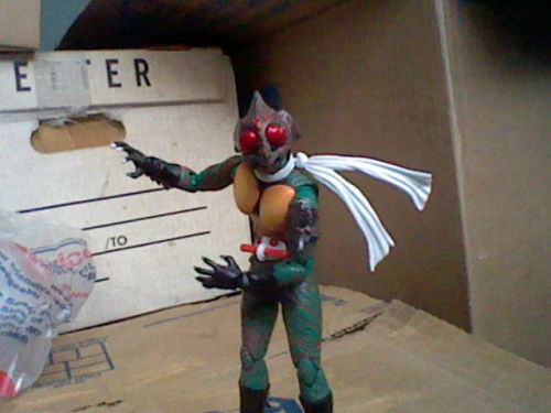 "#007 - Kamen Rider Amazon Some of these toys, I don't have much to say about, but in an effort to break away from a monotonous cycle of ""Here's a toy, it might be possessed, ooooo~"", I'm going to talk about this one. Amazon is the sixth Kamen Rider, from the shortest series of his franchise. I've seen a few Kamen Rider series, and while I still haven't seen his series, he just has a really cool design. He looks like if a Sleestak from Land of the Lost became a scarf-wearing superhero (the original Land of the Lost did come out around the same time as Amazon, but I doubt either was aware of the other). Combined with the fact that he's easily the derpiest Kamen Rider, I just couldn't help loving his look. This toy comes from a line called S.H. Figuarts, which are basically collectors figures that are extra poseable, have at least half a dozen different hands, and come with accessories. The main group of figures in this line are Kamen Riders, but they've done other figures for stuff like Super Sentai, Pretty Cure, and several Shonen Jump series. I have one other Figuart (which threw me into a brief frenzy of ""OH MY GOD, I MUST GET MORE"", which WILL happen if you get one; you will want another), and this is my second. Unfortunately, his right hand-joint is finicky as hell, and only seems to want to work with his open-claw hand (which some deem as ""molester hands""), which means I can't do his awesome ""SUPER GREAT SLASH"" finisher properly. Still, he's a pretty awesome figure. ""AAAAAAMAAAAAAZOOOOOOOOOONNNNNNN!!!!!!!!"""