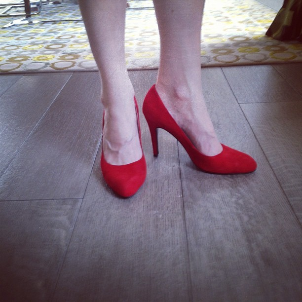 Red suede pumps make everything better (Taken with instagram)