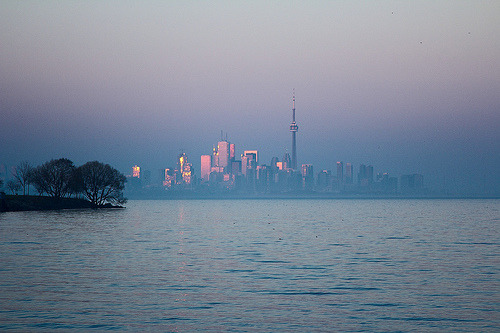 Beautiful picture of Toronto at sunrise, through the fog.