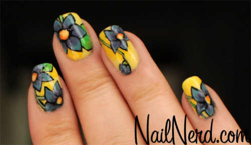 Floral nail art for spring with a handful of colors tossed in