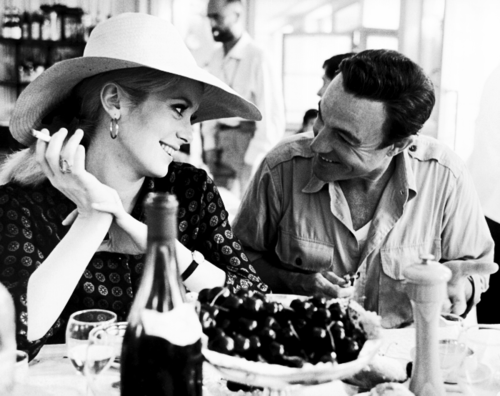classichollywoodcentral:  Catherine Deneuve and Gene Kelly on the set of The young Girls of Rochefort