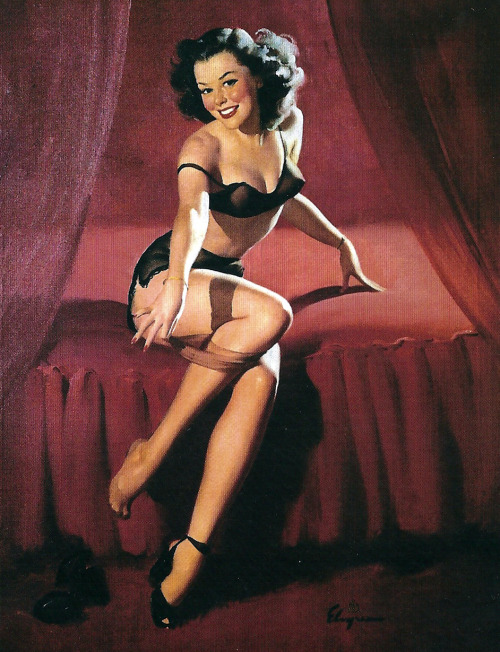 "Some art I picked up at the local antique fair yesterday:  Gil Elvgren's ""I'm Not Shy, I'm Just Retiring (Too Much Champagne) 1947"