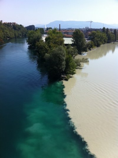 Meeting of two rivers in Geneva, Switzerland