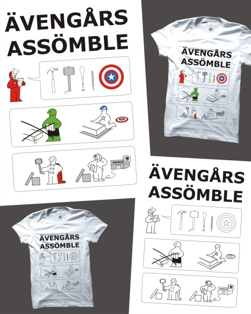My Avengers and Ikea themed T-shirt design, Superheroes Assemble, is up for scoring at Threadless.com for the next 7 days so if you'd like to see it get printed you can find it here and score it a 5!