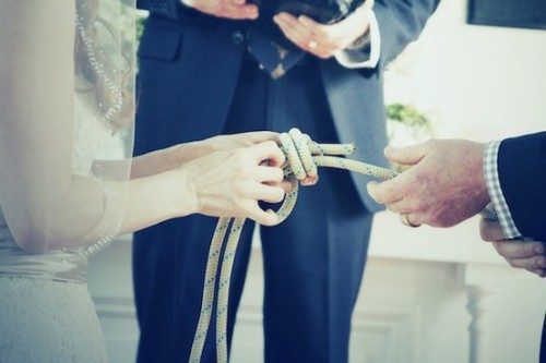 "superprettyweddingthings:   ""They actually tied a knot. They tied a fisherman's knot and it's the strongest knot. The rope will break before the knot comes undone and the knot only gets tighter with pressure.""   i dig it"
