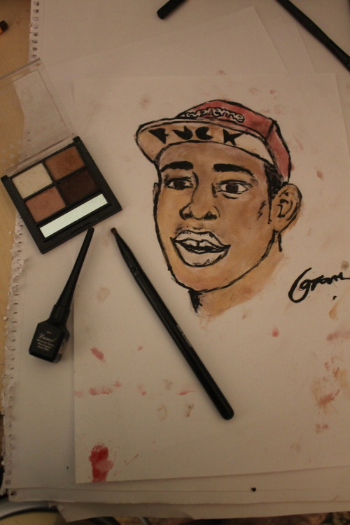 i've just drew tyler the creator with eyeliner and eyeshadow ahahahaha life, no aint got one
