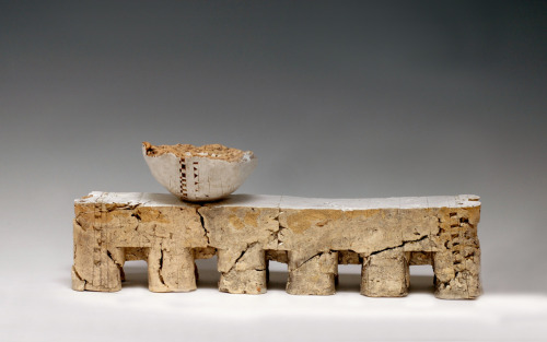"Patricia Sannit: Aquaduct, 2010, 9""x22""x4"", cast found and reclaimed clays, slip and stain"