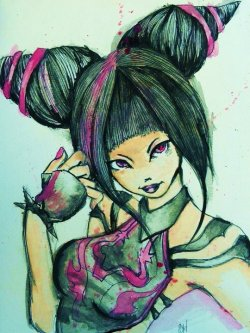 9x12 Water color Juri Han from Super Street Fighter IV.