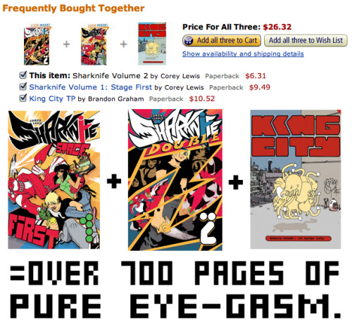 8bitmaximo:  sunbakerey:  You can get both Sharknife volumes AND the 400-page King City collection for under $30 on Amazon, all together. SERIOUSLY WHAT ARE YOU WAITING FOR  Score  I just finished the complete King City Collection and it was sjfdahkljhfdstical but I don't know about Sharknife, where can I see some excerpts?
