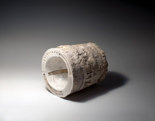 "Patricia Sannit: Double Cylinder, 2011, 6""x7""x6"", cast, carved and incised found and reclaimed clays, slip and stain"