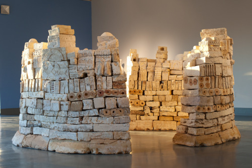 "Patricia Sannit: Citadel, 2011, 5'6""x11'x11', found and reclaimed clays, slip and stain"