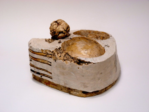 "Patricia Sannit: Ely glacier, 2012, 6""x12""x11"", cast, carved and incised found and reclaimed clays, slip and stain"