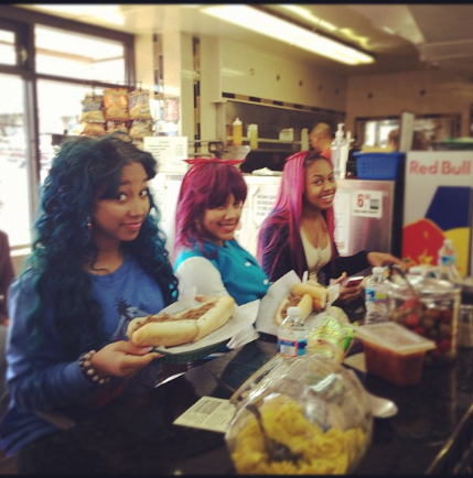 teen-nationxo:  Omg having our first cheesesteak, in Philly! - Star