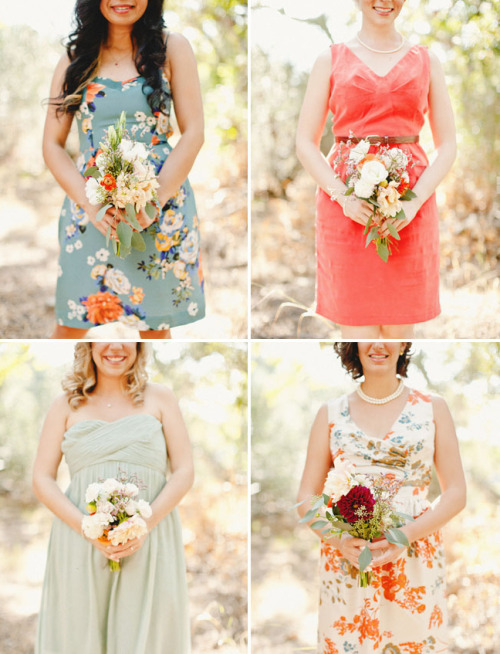 hushedcommotion:  Awesome printed bridesmaid dresses featured on @grnweddingshoes blog today! Great styling….