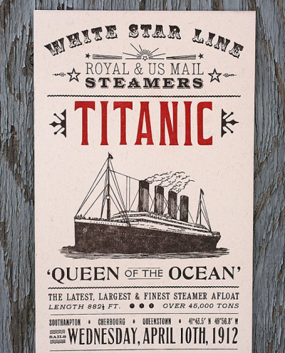 by9:  Titanic letterpress print by starshapedpress on Etsy @etsy.com