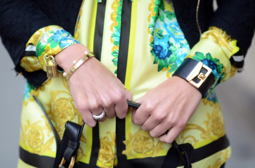 what-do-i-wear:  MSGM PRINTED SHIRTMARC JACOBS LEATHER BRACELET (image: theblondesalad)
