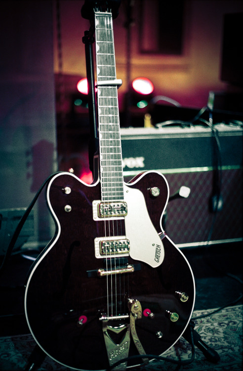 "Gretsch 1962 Country Gentleman. The band finally got their hands on this beautiful guitar after telling me for ages how they wanted the ""Gretsch sound"" on one of their tracks. We got it just in time to use on the Tonight Show with Jay Leno and it was really special. You can see me looking very pleased just after receiving it here: Matt and his Gretsch"