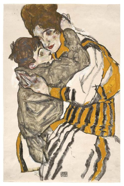 "Art by Egon Schiele: ""Edith Schiele and her little Nephew"" (1915), charcoal + opaque and transparent watercolor on paper. This is the best thing you'll see with a #watercolor tag all year. Via deadpaint"