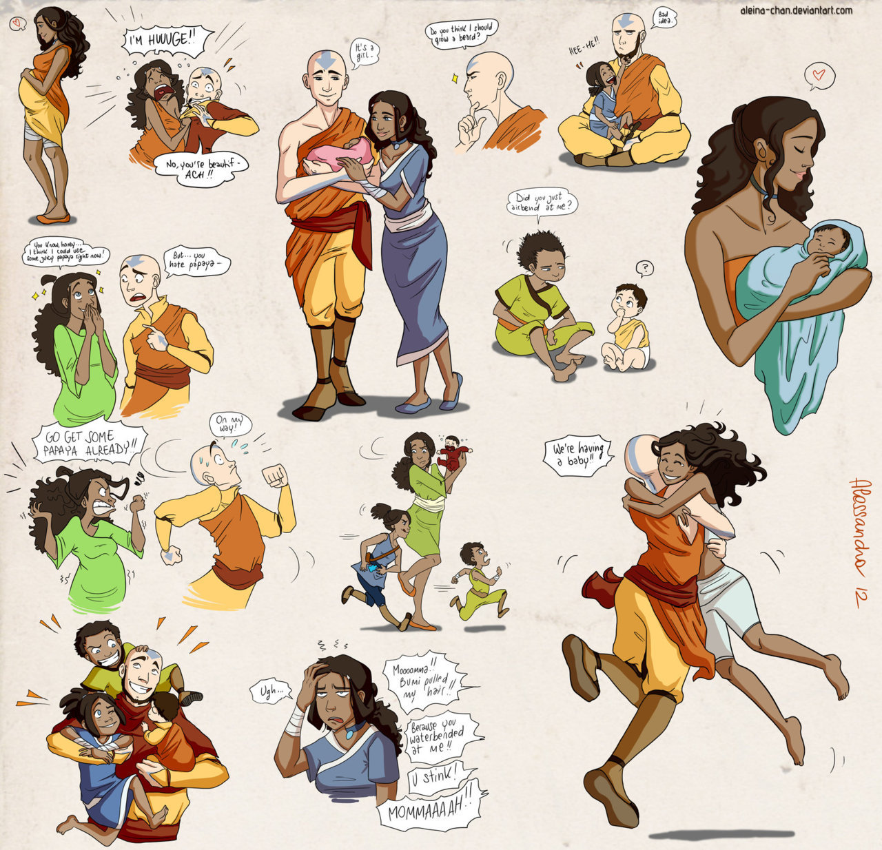 avatar-addiction:  fuckyeahavatarshipping:  Kataang family bits by ~Aleina-chan  IT'S SO FUCKING CUTE