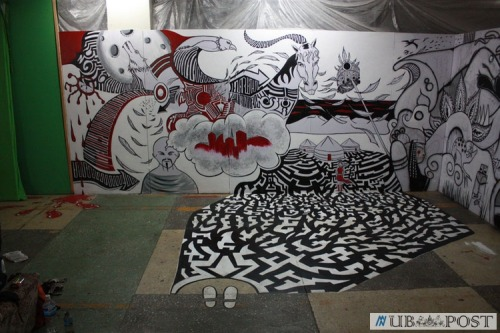 The Mongolian Street Art Festival was last week. About 50 artists worked together painting about 200 square meters of mural and displaying art and videos about the future, tradition, and modernity.
