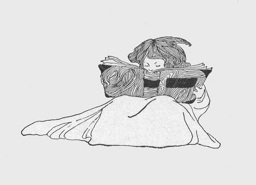 embracebooks:  girl reading book (by katinthecupboard)