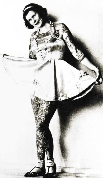 Tattooed woman, Betty Broadbent c. 1940's