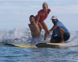 gosev:  Bethany Hamilton from Soul Surfer and Nick Vujicic riding the waves together. Priceless shot!