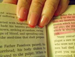 Pink nail polish + even pinker nail polish + pages 82 - 83 of The Plague by Albert Camus = feeling Easter-y and existential.