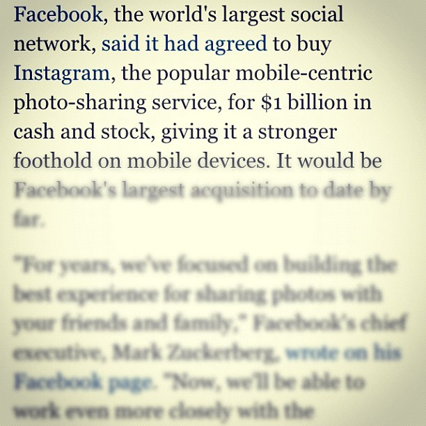 $1 Billion, in cash. #Facebook #Instagram (Taken with instagram)