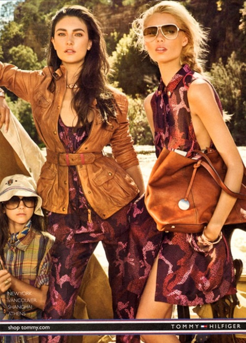 Jacquelyn Jablonski and Vika Falileeva look stunning in this shot from the current Spring/Summer 2012 Tommy Hilfiger ad campaign series, decked out in red camouflage. Femininity with a hint of toughness is not an easy look to pull off, but these two manage to do so with ease.