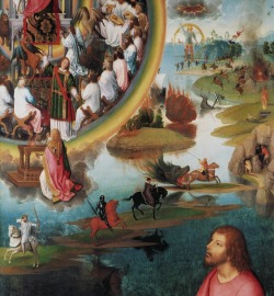 cavetocanvas:   Hans Memling, Triptych Of S. John The Baptist And S. John The Evangelist (detail, right wing): Breaking of the Seven Seals: the Four Apocalyptic Horsemen, 1474-79