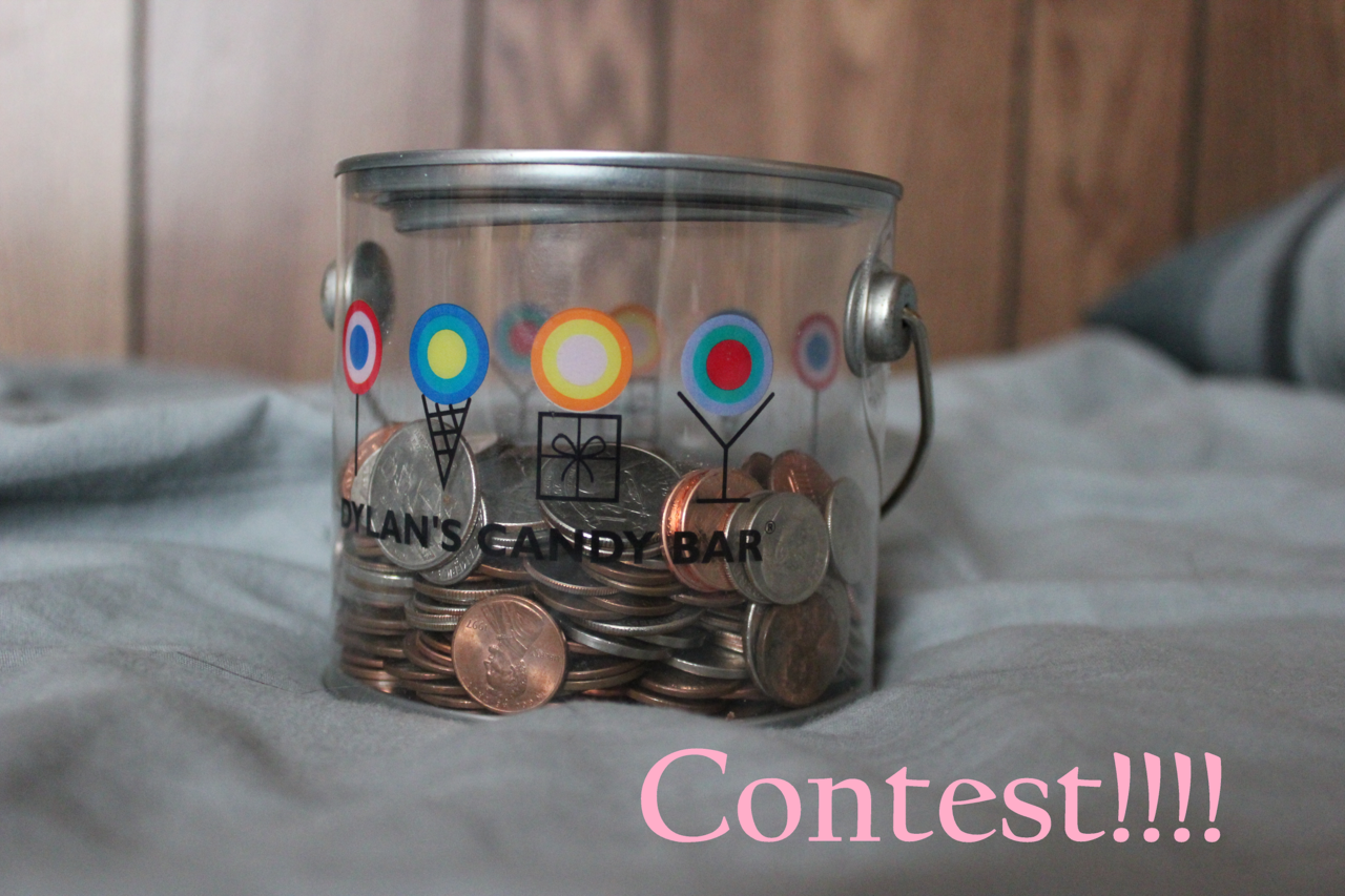 moofinsmoofin:  I am holding my first ever contest on Tumblr! Woohoo! ABOUT So, basically, the contest is to guess how much money is in the paint can in the above picture. I only have two photos of this paint can with all of the change in it, and they are pretty much the same angle. This is purely a guessing game! RULES AND HOW TO ENTER Enter by reblogging ONCE with your guess. Multiple guesses do not count. Messages with guesses do not count. Only reblogs. You do not have to be following me, but you might want to for when I announce the winner. :) The person who has guessed the EXACT amount or closest to the exact amount will WIN! THIS INCLUDES CHANGE! Let's say the amount is $2.00. The person who guesses $1.00 will LOSE to the person who guesses $1.62!! CONTEST ENDS APRIL 30TH. WINNERS WILL BE ANNOUNCED MAY 1ST. Leave your ask open! It's how I will tell you you won! THERE IS MORE THAN ONE WINNER! The person who guesses the closest to the exact amount will just get to choose which prize they want before all the runner ups. I AM GIVING AWAY ALL OF THE PRIZES SHOWN! PRIZES (These prizes are small because this contest is mainly just for fun! Also take note that I do not ship internationally. You must live in the U.S. to win. However, you may still enter if you live outside the U.S.A. if you want to just see if you can guess the amount.) $20 in lottery scratch-offs, your choice of which ones (meaning you can choose if you want $20 in all different $1 tickets, $2 tickets, just one $20 ticket, etc…) 3 books of your choice from my local Barnes & Noble (each book not to exceed $15 each) Two Pirates of the Caribbean keychains (picture shown below) Three cookbooks (picture shown below) A t-shirt from this website of your choice (not to exceed $24.99). This means there will be FIVE POSSIBLE WINNERS of this contest. You have five days to respond to my message before I choose another winner to take your place. THIS IS NOT A GIVEAWAY. This is a contest and random likes/reblogs will not count toward the drawing. If this gets no notes and no enters I will cry myself to sleep and nonchalantly delete this post. That being said, that's really all you need to know. :) Oh, and here are the pictures of the keychains and the cookbooks:    My gf is having a contest. =)