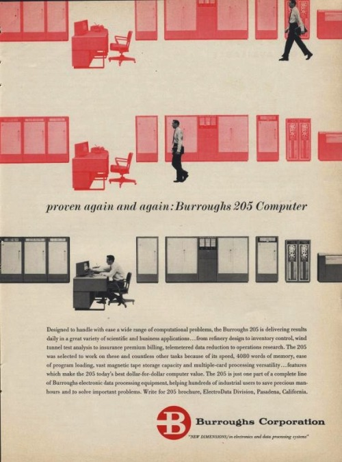 An advert for the Burroughs 205 Computer, designed by Campbell-Ewald Company, posted to Flickr by bustbright.
