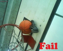 kjg:  Basketball gets stuck *throws shoe FAIL