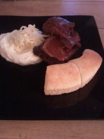 Braised short ribs with Irish cheddar mashed potatoes and parker house rolls