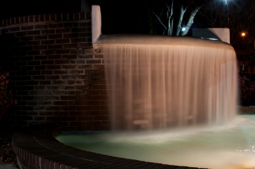 Week 14 A long exposure shot of a fountain in Raleigh, NC at night