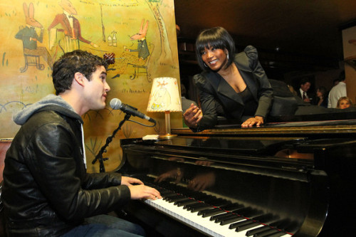 Something I adore. Darren Criss serenades Angela Bassett.