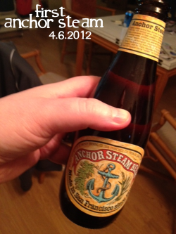 Anchor Steam Beer. I want to tell you a story. Many moons ago, my mom married a really great man named David. He was this cool guy who we knew from church and he was smart and played like a million instruments and made my mom really happy. I could regale you with dozens of stories about David, but today I'm just going to share one specifically.  It is an inside family joke that in the early days, David was called Mr. No Opinion. While it doesn't quite roll off the tongue, the nickname was because he would always default to my Mom when we had a larger decision to make or a request or just generally wanted/demanded/whined about something as teens often do.  Truth is, he and my Mom probably discussed every detail behind closed doors before delivering a decision, but to our observation, David never threw in a peep. And to be fair we were not always the easiest teens to put up with, poor guy.  I cannot quite pinpoint the exact moment the flood gates finally opened and David became more forthright in speaking his mind, but I can tell you this: once they were open, they never fully closed. Now, I'm not saying that he blew up and just started opinionating all over the place like a crazy person. Not at all. Not that he couldn't have. Not that we certainly didn't provide him more than enough ammo.  But over the years he's become a really important source of coaching, counseling and friendship. Thankfully, he's become the kinda guy you want to approach, the kinda guy whose opinion you value and are always grateful for. He's no longer Mr. No Opinion, he's a friend, a confidant, a really amazing Father. He's been there for some great days and for some terrible days. He's a great listener and he's fair and thoughtful, kind and authentic. It is a rare instance that I don't value his opinions, advice and counsel. I really mean that, really rare. So very rare in fact. Which is why having to report that his favorite beer was so terrible hurts a little. But, as you know, I call them like I drink them. And it was unpleasant.  I love you David, please remember that. First off, the Anchor Steam was far more carbonated than a typical beer. Bitter and musky, the alcohol flavor was really sharp.  So sharp it overwhelmed the beer in a weird dark and strange way, greatly over-powering the drink. There were notes of malt and deep brown bread that I wanted to like, but the alcohol was kicking my sinuses too hard to enjoy anything else.   The beer is a micro-brew from San Francisco, CA and unlike the city, is devoid of any sweetness. It's full bodied, with slight orange notes and a green apple skin like finish. All in all, its not my taste in beer.  In David's defense, perhaps my dislike of the beer is an indication of my beer virginity; my inexperience preventing me from understanding it successfully. Or, perhaps I just don't like it plain and simple. Because it wasn't very good. At all. Oh, David. I'm sorry. You had the taste required to fall in love with my mom, my sister and I, but clearly you used your will-power up. I feel responsible. Maybe if Elizabeth didn't dye her hair every other week, or we swore less, or I didn't hit that plain clothed cop and his wife on their motorcycle when you were teaching me to drive you'd have more energy to enjoy better beers. Maybe. But I guess we'll never know. I guess we'll never know. But I love you man. Good, bad and no opinions—I appreciate them all. And I'm giving you at least one more drink to choose on the Adventure. You deserve that much. As do my taste buds.  And who knows, maybe I'll take a Mr. No Opinion approach to that drink. …but probably not. You know me better than that. Sorry. For that and all the grey hair.  Cheers, Ben PS: All this week I'll be releasing drink blogs from my weekend in Ohio where I had drinks with everyone from my very own Mom to my Great Aunt Peggy. You do not want to miss this week. It's going to be entertaining, I promise.