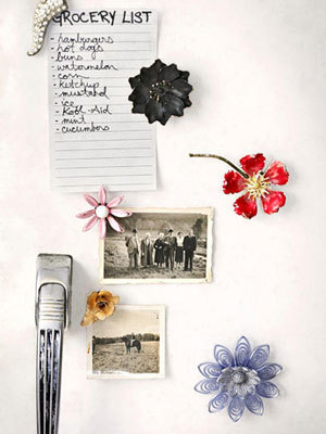 Country Living | Flower Magnets  Instead of throwing out old/broken brooches or letting them collect dust in a jewelry box, superglue small magnets on the backs of them and display them on your refrigerator. If you have any brooches from family members, there's no better way to show them off than with unique magnets. Display these gems in your kitchen or dorm room.