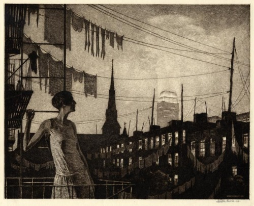Everything about this is Wow. illustrationisart:  Martin Lewis (1881-1962): Glow of the City -1929-(Drypoint and Sand Ground)