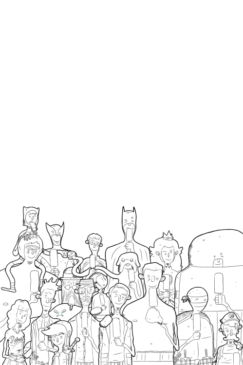 Popsicle Party Redux (WIP) This is obviously a work in progress. I wanted to draw the Popsicle Party again but this time make it a bit clearer and add a couple more characters. I also wanted to have some of them interacting with one another. It's going to take some time finishing this one up, but I thought could show you where I'm at.