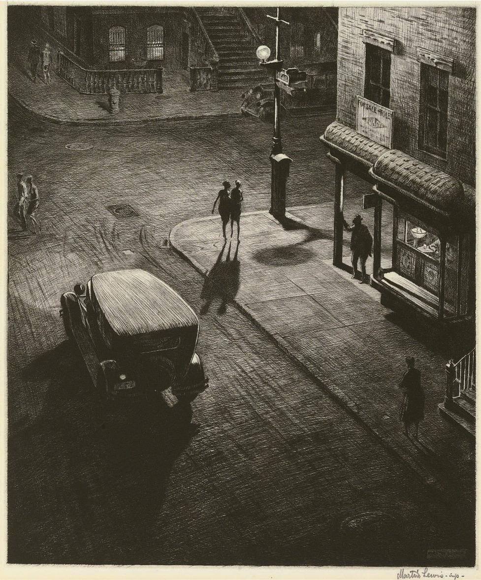 Martin Lewis (1881-1962): Relics( Speakeasy corner)-1928-(Drypoint and Sand Ground)