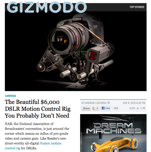 karenabad:  Kessler Fusion on Gizmodo! Lovely. NAB in Las Vegas is next week! If you are there make sure you come say hi, I'll be working for Kessler Crane at the Zacuto/Kessler Crane booth. Say hi! Give hugs! Party up!