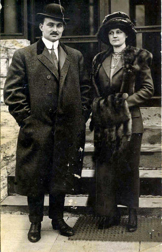 John and Nelle Snyder, Titanic survivors, the day they arrived in New York on Carpathia, April 18th, 1912 Their expressions are complex.  You can tell they're feeling a combination of sadness, shock and relief.